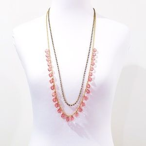 J. Crew Pink Crystal Bead + Rhinestone Necklace